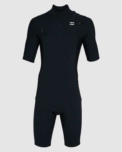 7 202 Revolution Comp Chest Zip Short Sleeve Springsuit Black 9703490 Billabong