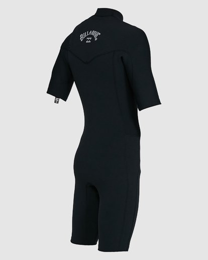 9 202 Revolution Comp Chest Zip Short Sleeve Springsuit Black 9703490 Billabong