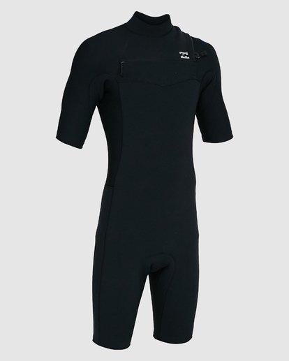 8 202 Revolution Comp Chest Zip Short Sleeve Springsuit Black 9703490 Billabong