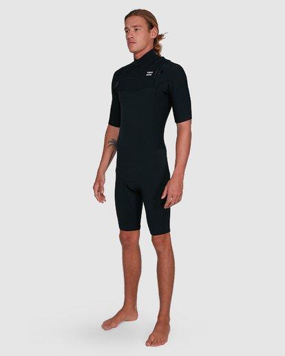 12 202 Revolution Comp Chest Zip Short Sleeve Springsuit Black 9703490 Billabong