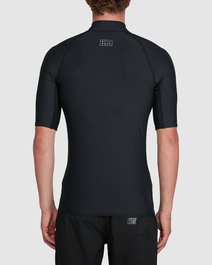 3 All Day Wave Performance Fit Short Sleeve Rash Vest Black 9703502 Billabong