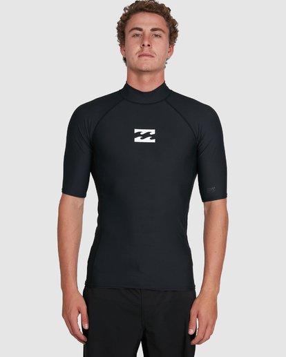 4 All Day Wave Performance Fit Short Sleeve Rash Vest Black 9703502 Billabong