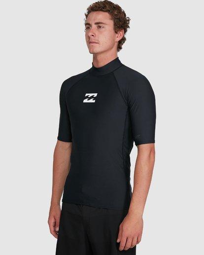 5 All Day Wave Performance Fit Short Sleeve Rash Vest Black 9703502 Billabong