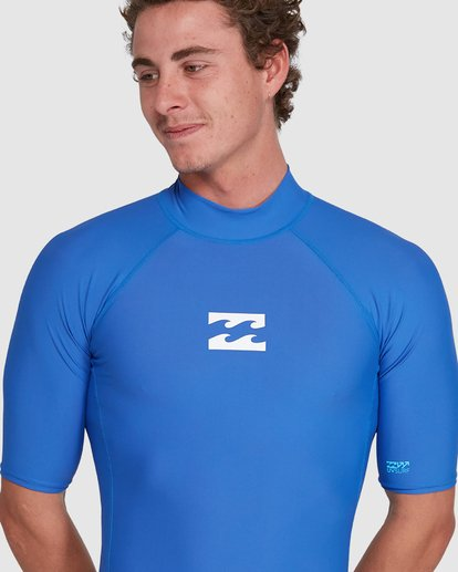 6 All Day Wave Performance Fit Short Sleeve Rash Vest Blue 9703502 Billabong