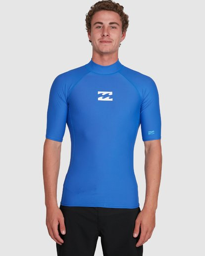 3 All Day Wave Performance Fit Short Sleeve Rash Vest Blue 9703502 Billabong