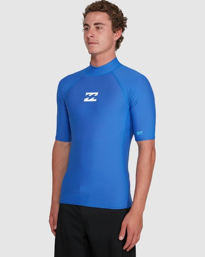 4 All Day Wave Performance Fit Short Sleeve Rash Vest Blue 9703502 Billabong