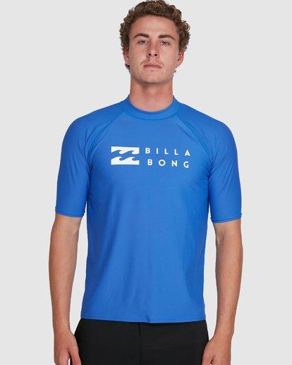 3 Union Regular Fit Short Sleeve Rash Vest Blue 9703506 Billabong