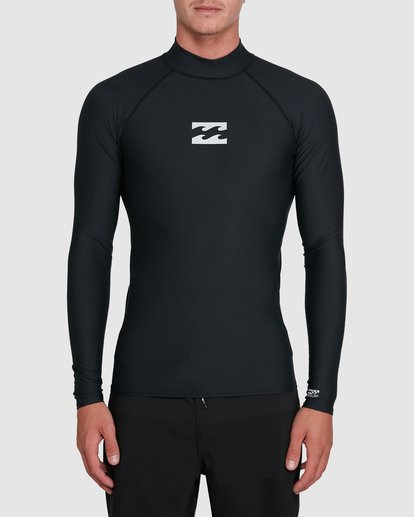 3 All Day Wave Performance Fit Long Sleeve Rash Vest Black 9703509 Billabong