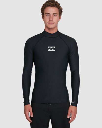 6 All Day Wave Performance Fit Long Sleeve Rash Vest Black 9703509 Billabong