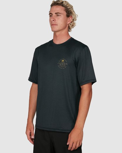 4 Wavey Davey Loose Fit Short Sleeve Rash Vest Black 9704501 Billabong