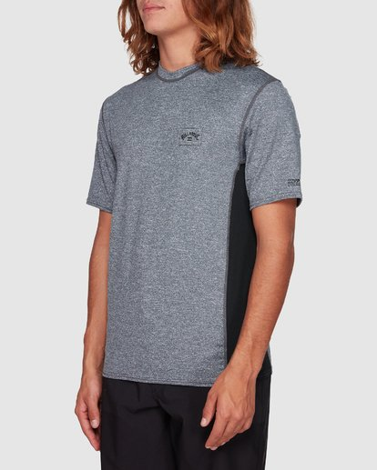1 Arch Mesh Loose Fit Short Sleeve Rash Vest Grey 9707518 Billabong