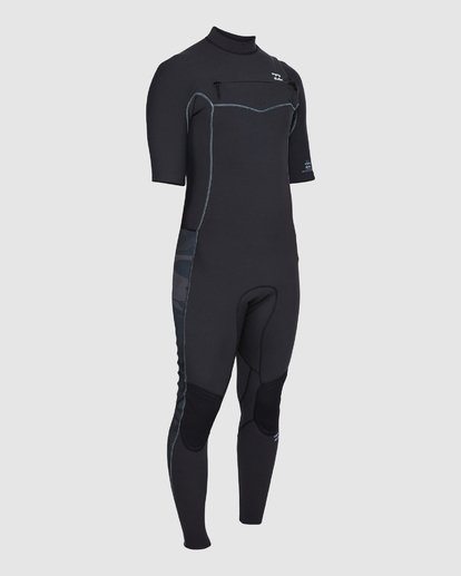 2 202 Revolution Pro Chest Zip Short Sleeve Fullsuit Black 9707902 Billabong