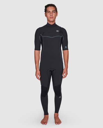 7 202 Revolution Pro Chest Zip Short Sleeve Fullsuit Black 9707902 Billabong