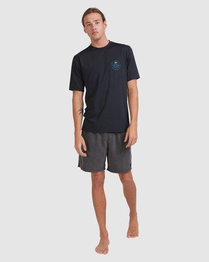 6 Wavey Davey Loose Fit Short Sleeve Rash Vest Black 9713011 Billabong