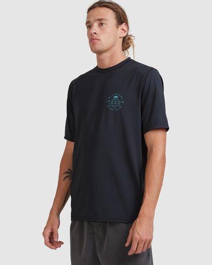 1 Wavey Davey Loose Fit Short Sleeve Rash Vest Black 9713011 Billabong