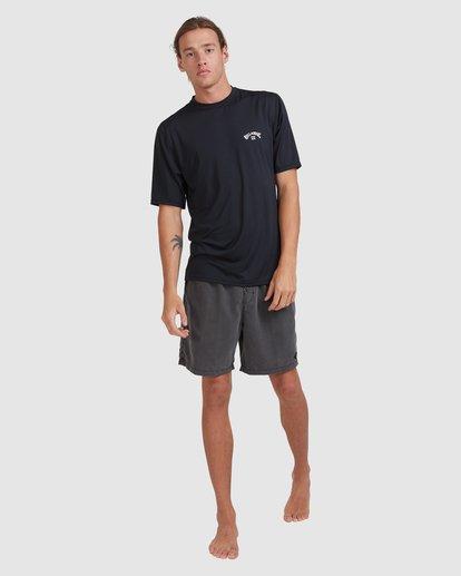 6 Single Arch Loose Fit Short Sleeve Rash Vest Black 9713012 Billabong