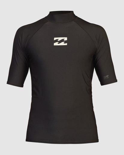 2 All Day Wave Performance Fit Short Sleeve Rashguard Black 9713015 Billabong