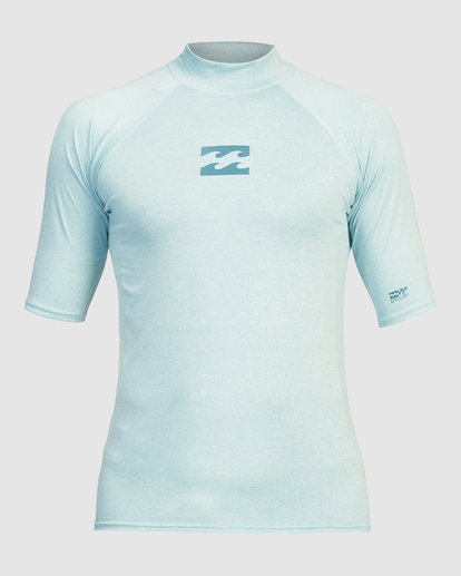 0 All Day Wave Performance Fit Short Sleeve Rashguard Blue 9713015 Billabong