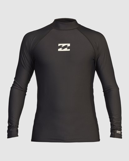 2 All Day Wave Performance Fit Long Sleeve Rashguard Black 9713016 Billabong