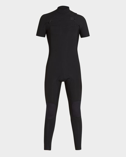 1 202 Furnace Revolution Short Sleeve Chest Zip Full Suit Black 9795620 Billabong