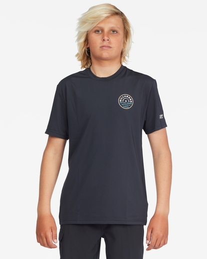 1 Boys' Roto Loose Fit Short Sleeve Rashguard Black ABBWR00103 Billabong