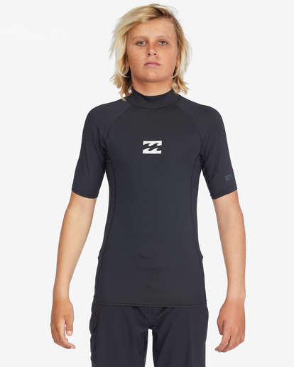 1 Boys 8-16 All Day Wave Performance Fit Rash Vest Black ABBWR00113 Billabong
