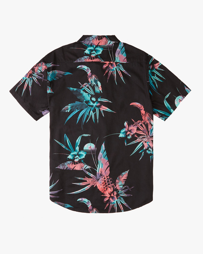 1 Boys' Sundays Floral Short Sleeve Shirt Blue ABBWT00104 Billabong