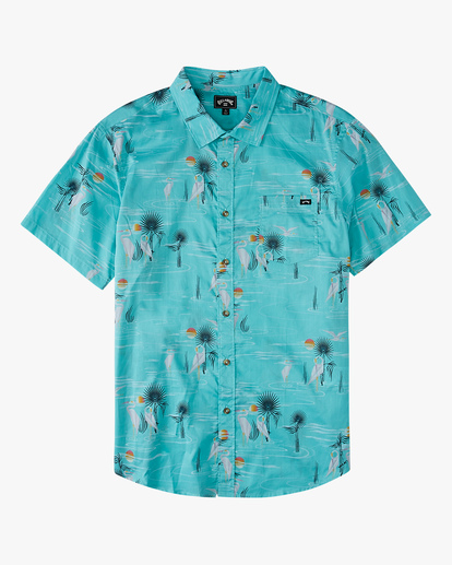 0 Boys' Sundays Floral Short Sleeve Shirt Grey ABBWT00104 Billabong