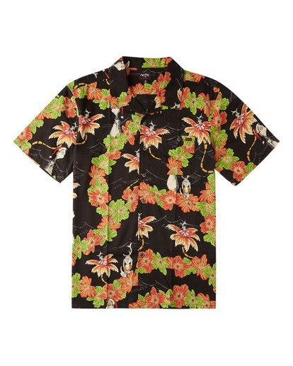 0 Boys' Sundays Floral Grinch Short Sleeve Shirt Black ABBWT00108 Billabong