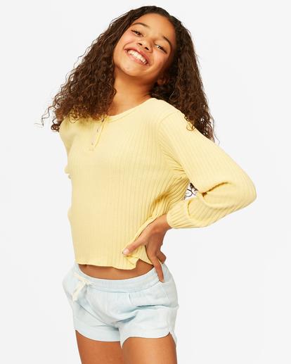 1 Girls' Im Set Henley Long Sleeve Top Yellow ABGKT00143 Billabong