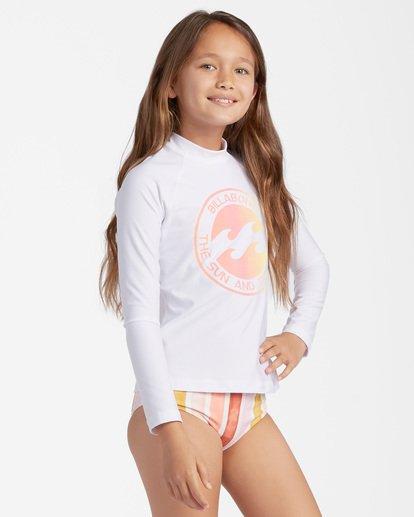 2 Girls' Core Surfdaze Rashguard White ABGWR00103 Billabong