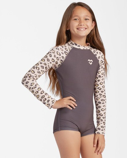 2 Girls' Core Long Sleeve Swimsuit Beige ABGWR00104 Billabong