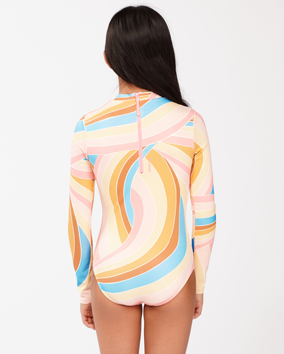 2 Girls' Sea Of Gold Long Sleeve Swimsuit Grey ABGWR00106 Billabong