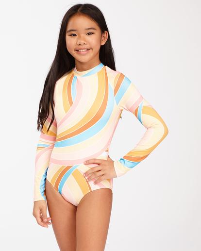 0 Girls' Sea Of Gold Long Sleeve Swimsuit Grey ABGWR00106 Billabong