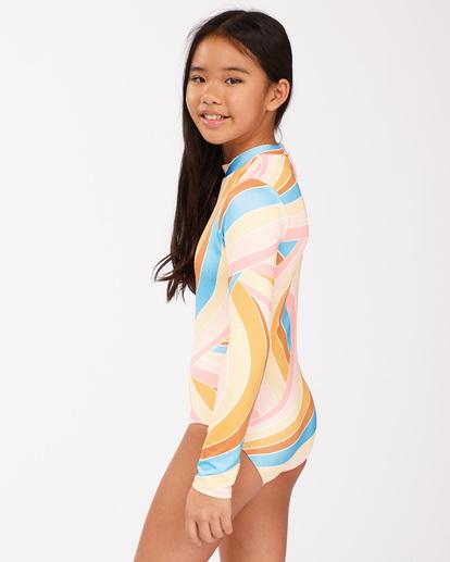 1 Girls' Sea Of Gold Long Sleeve Swimsuit Grey ABGWR00106 Billabong
