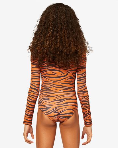 2 Girls' Sneakaway Back Zip Long Sleeve Swimsuit Brown ABGWR00123 Billabong