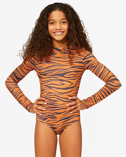 0 Girls' Sneakaway Back Zip Long Sleeve Swimsuit Brown ABGWR00123 Billabong