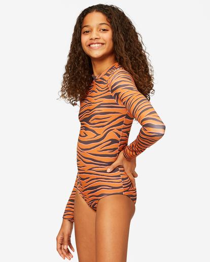 1 Girls' Sneakaway Back Zip Long Sleeve Swimsuit Brown ABGWR00123 Billabong