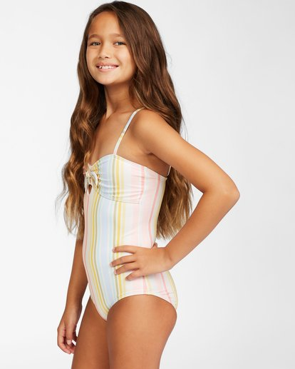 1 Girls' Stoked On Sun One-Piece Swimsuit Grey ABGX100112 Billabong