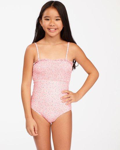 0 Girls' Feelin Ditsy One-Piece Swimsuit Pink ABGX100116 Billabong