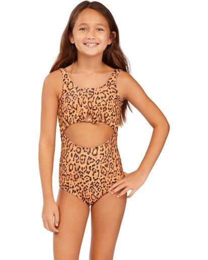 0 Girls' Lil Bit Wild One-Piece Swimsuit Brown ABGX100117 Billabong