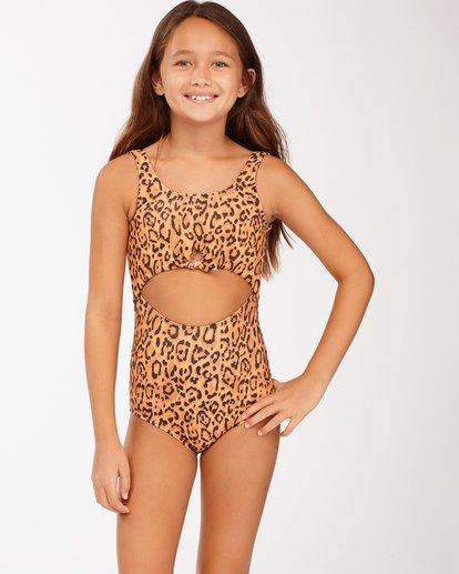 1 Girls' Lil Bit Wild One-Piece Swimsuit Brown ABGX100117 Billabong