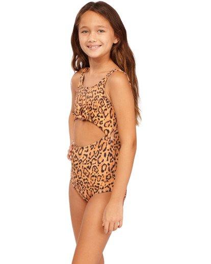 4 Girls' Lil Bit Wild One-Piece Swimsuit Brown ABGX100117 Billabong