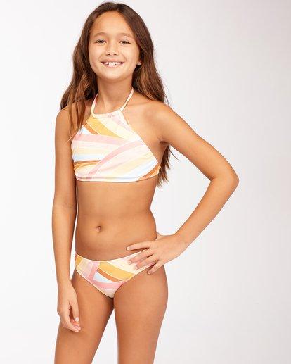 2 Girls' Sea Of Gold High Neck Bikini Set Grey ABGX200128 Billabong