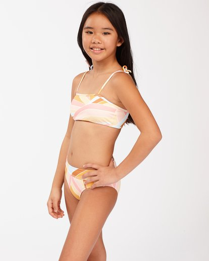 2 Girls' Sea Of Gold Strappy Tank Bikini Set Grey ABGX200129 Billabong