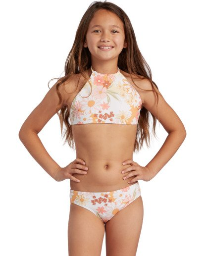 0 Girl's Sunshine High Neck Bikini Set Grey ABGX200130 Billabong
