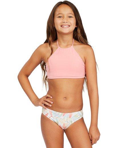 1 Girl's Lil Love Palms High Neck Bikini Set Grey ABGX200143 Billabong