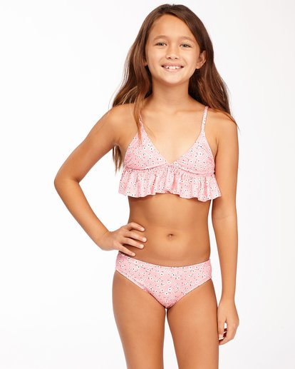 0 Girls' Feelin Ditsy Ruffle Triangle Bikini Set Pink ABGX200164 Billabong