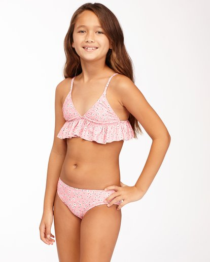2 Girls' Feelin Ditsy Ruffle Triangle Bikini Set Pink ABGX200164 Billabong