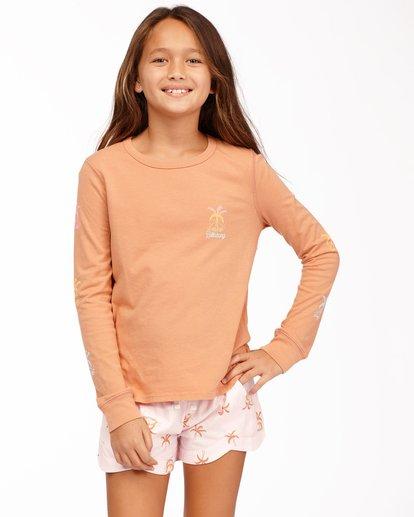 0 Girls' Sunny Palm Long Sleeve T-Shirt Brown ABGZT00175 Billabong